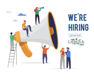 """LifeWatch ERIC logo and """"We're hiring"""" text over an image of people and a giant megaphone."""