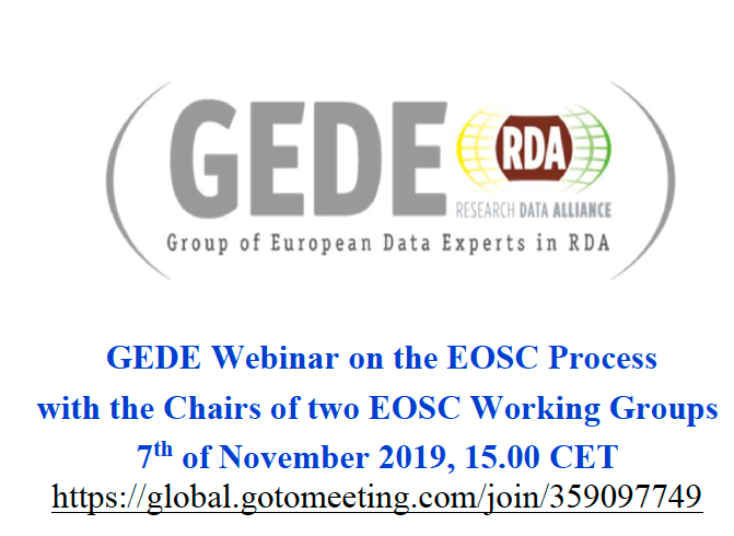 GEDE Webinar on the EOSC Process with the Chairs of two EOSC