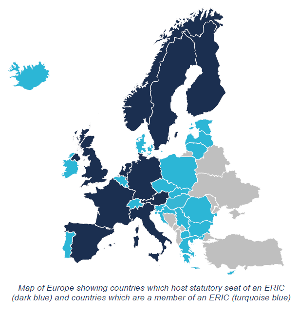Map of statutory ERICs and ERIC memberships in Europe.