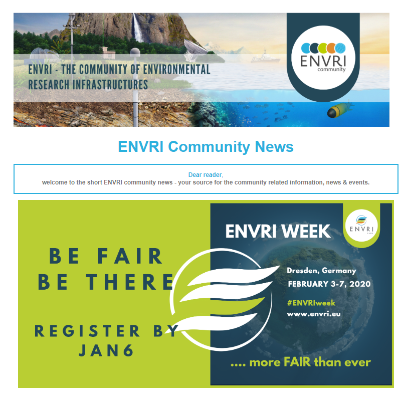 Screenshot of the ENVRI Community Newsletter #2
