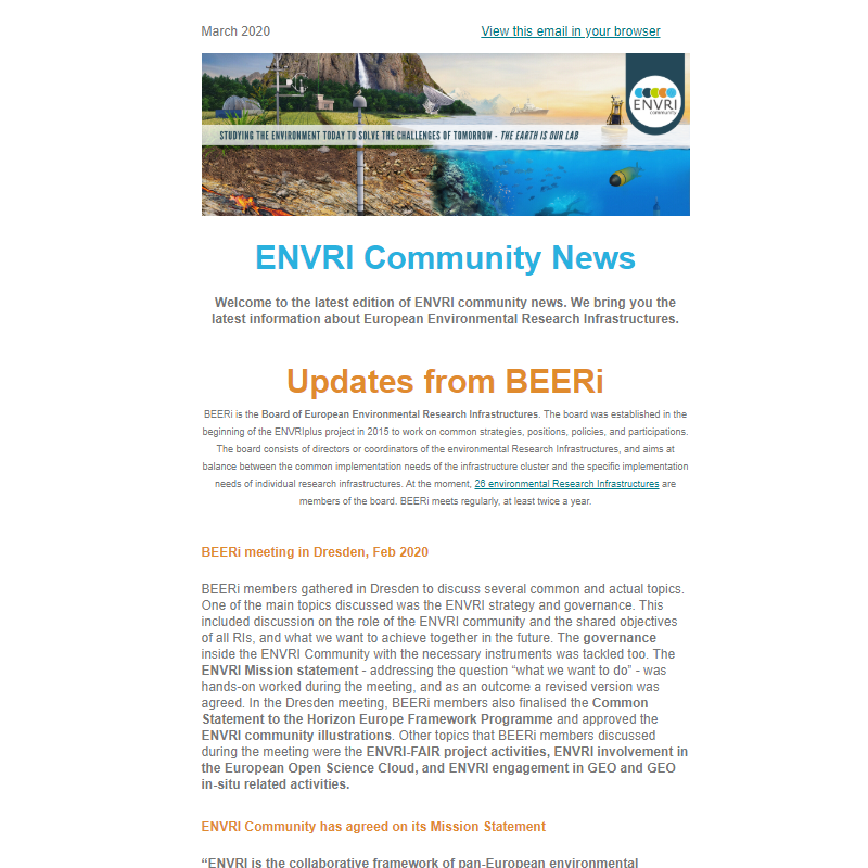 Screenshot of the ENVRI Community Newsletter #3