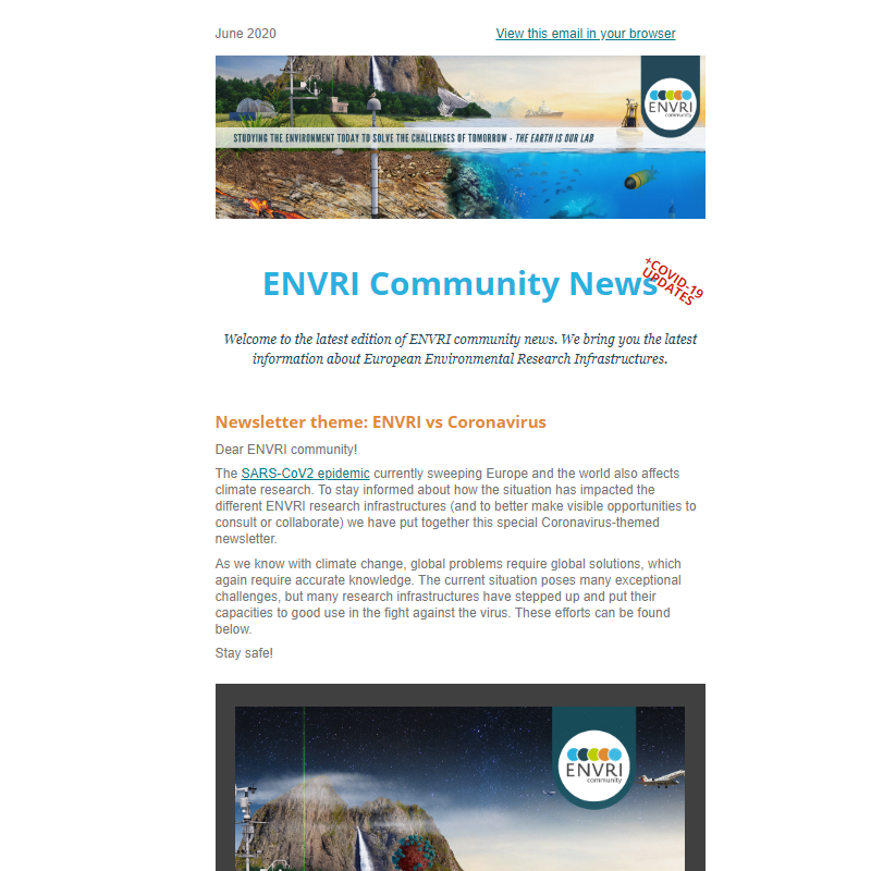 Screenshot of the ENVRI Community Newsletter #4