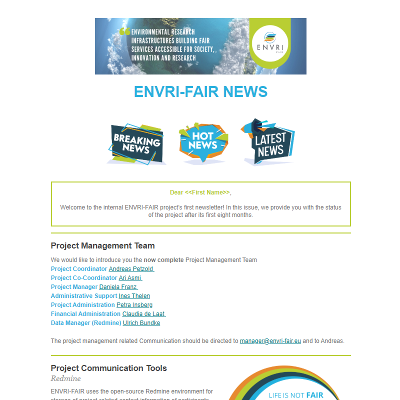 Screenshot of the ENVRI-FAIR News #1