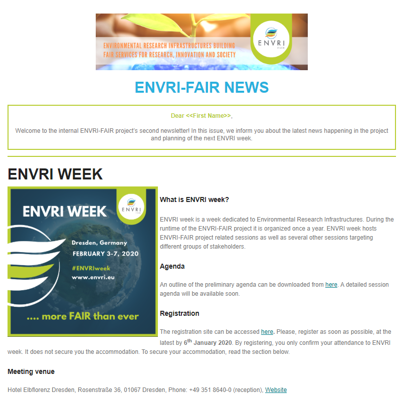 Screenshot of the ENVRI-FAIR News #2