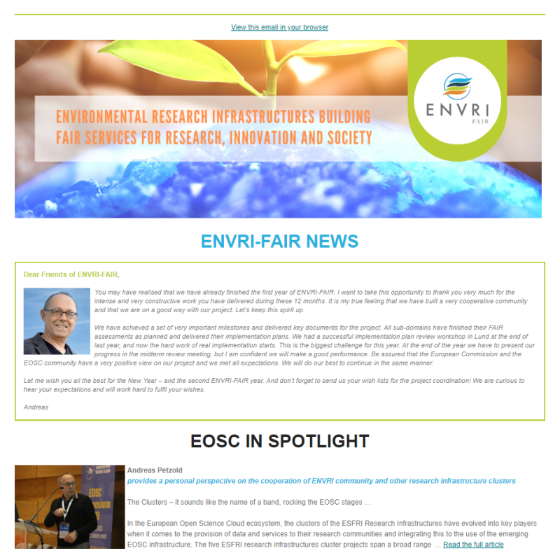 Screenshot of the ENVRI-FAIR (external) Newsletter #1