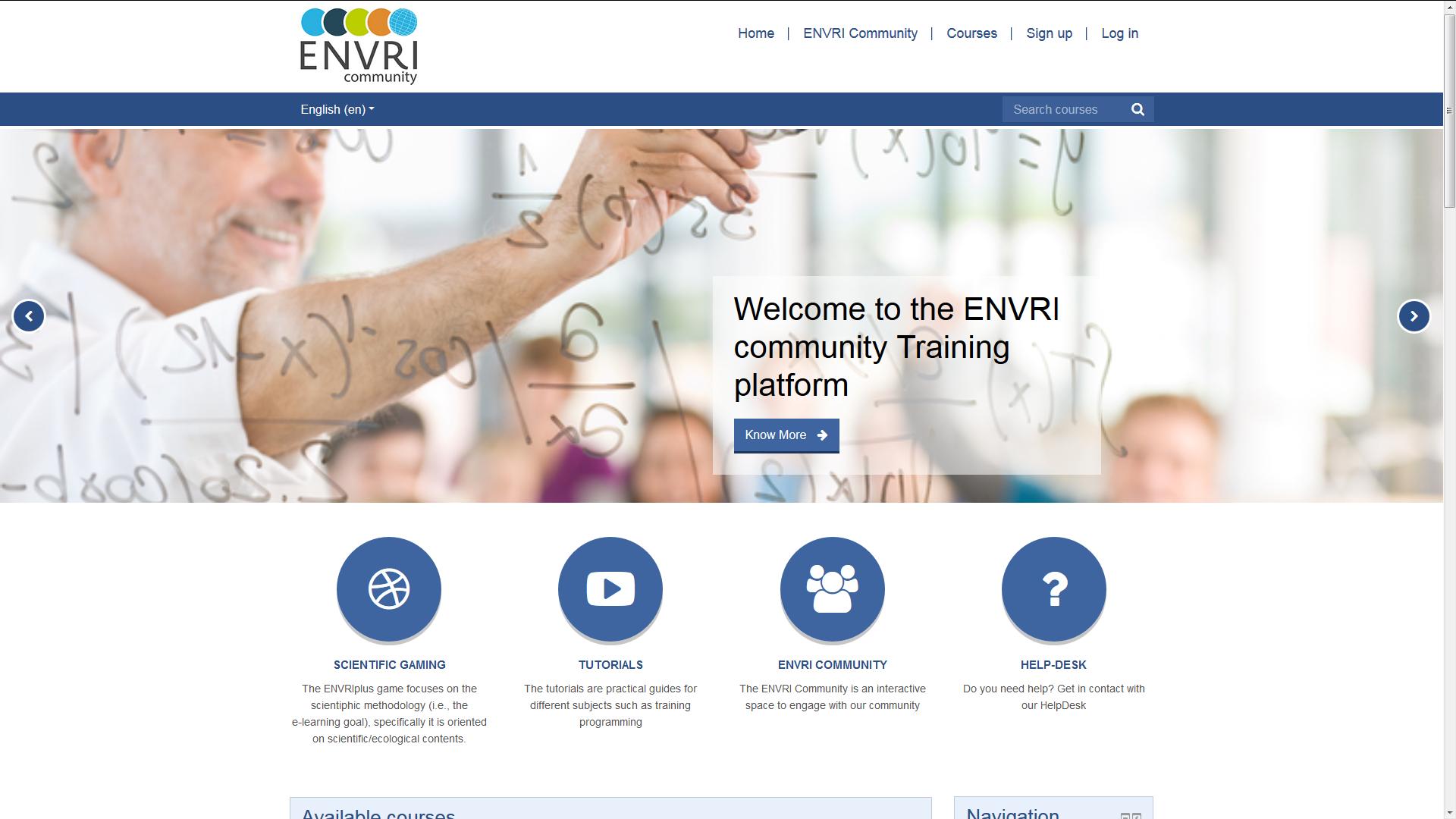 20200724 screen capture of the ENVRI Community Training Platform front page