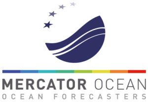 "Mercator Ocean logotype, with the subtitle ""Ocean Forecasters""."